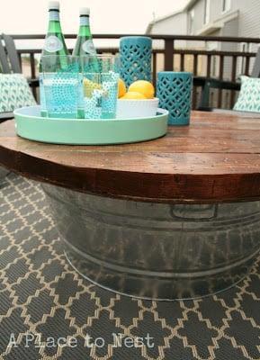bucket patio coffee table, via Remodelaholic