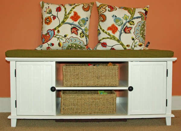 entertainment center into toy storage bench, via Remodelaholic