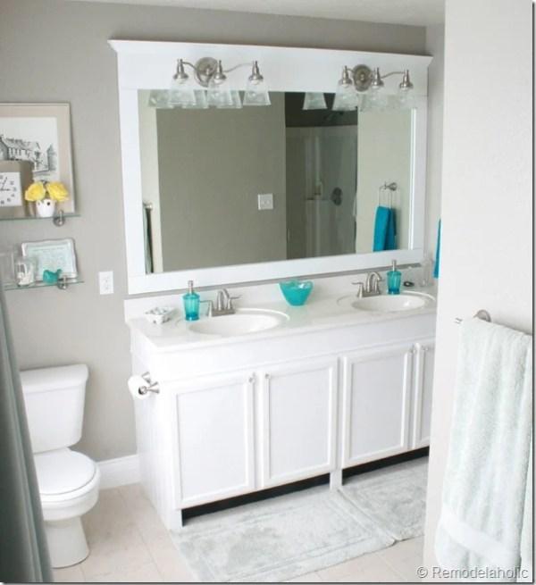 frame a large bathroom mirror