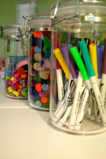 kids art supply storage, via Remodelaholic