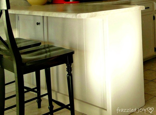reclaimed wood planked kitchen island before, Frazzled Joy on Remodelaholic