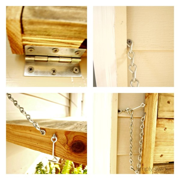use hinges and chain to hang an outdoor wood buffet, Simply Swider on Remodelaholic