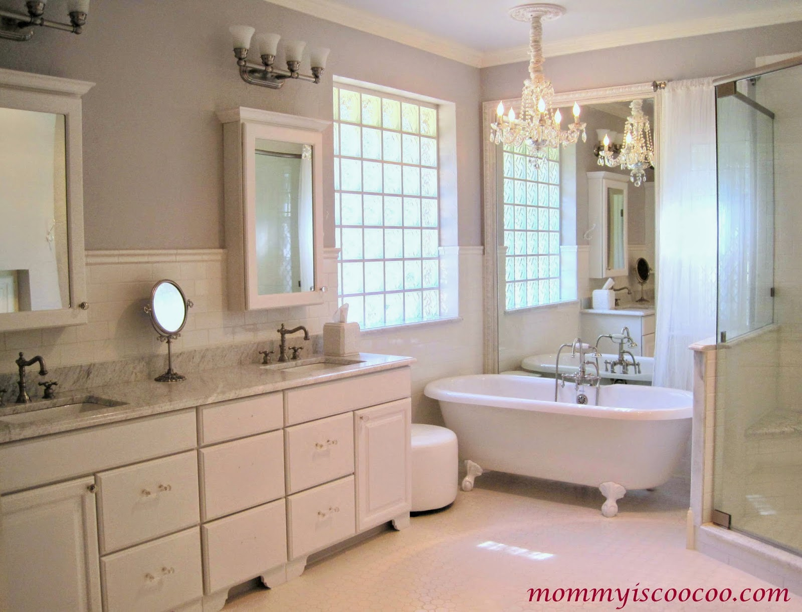 White Bathroom Makeover With Builder Grade Mirror Framed Behind Tub, Mommy  Is Coocoo On Remodelaholic