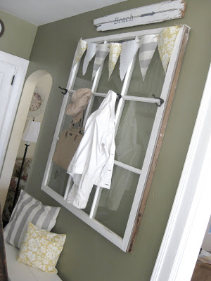 Aimee Weaver - old window to hall tree coat rack - via Remodelaholic