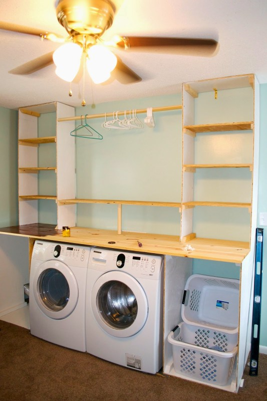 Building the laundry unit 06, Seesaws and Sawhorses on Remodelaholic