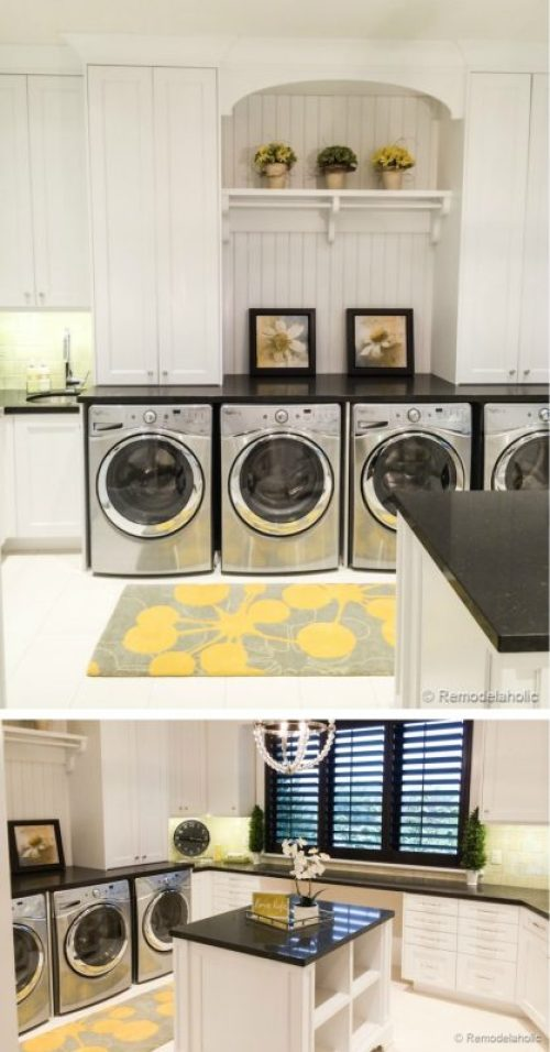 Double laundry room with folding island Fabulous Laundry room design ideas from @Remodelaholic (100 of 103)