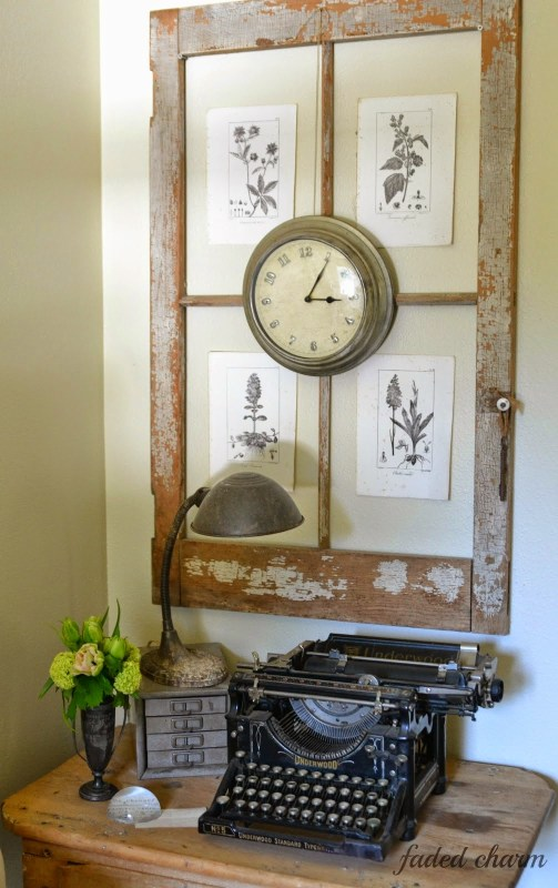 Faded Charm Cottage - old window into botanical frame with clock - via Remodelaholic