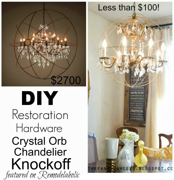 How to create a crystal orb chandelier like Restoration Hardware | Vintage Romance Style featured on Remodelaholic.com #knockoff #chandelier #lighting #diy