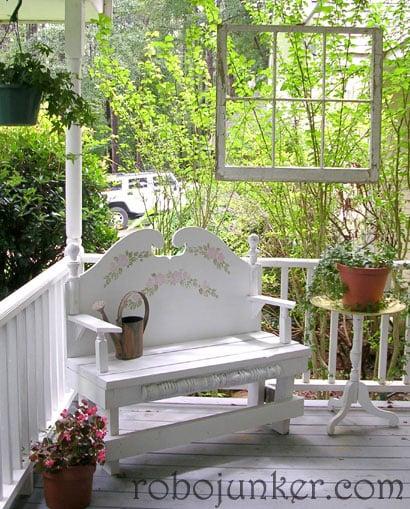Robo Margo - old window as porch decoration - via Remodelaholic
