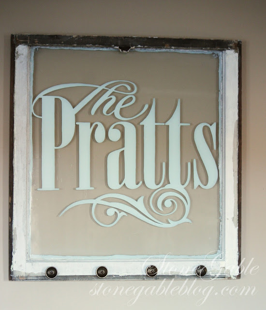 Stonegable Blog - old window into family sign with vinyl - via Remodelaholic
