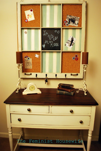 The Feminist Housewife on SYTYCDecorate - old window memo board - via Remodelaholic