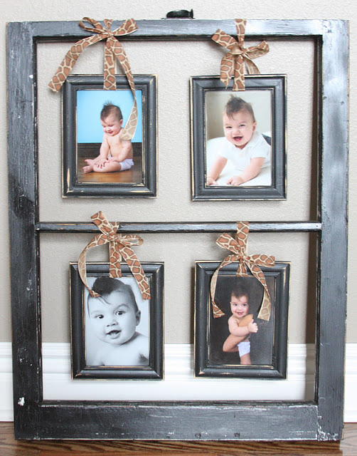 The Rowe Fam - old window with hanging photo frames - via Remodelaholic