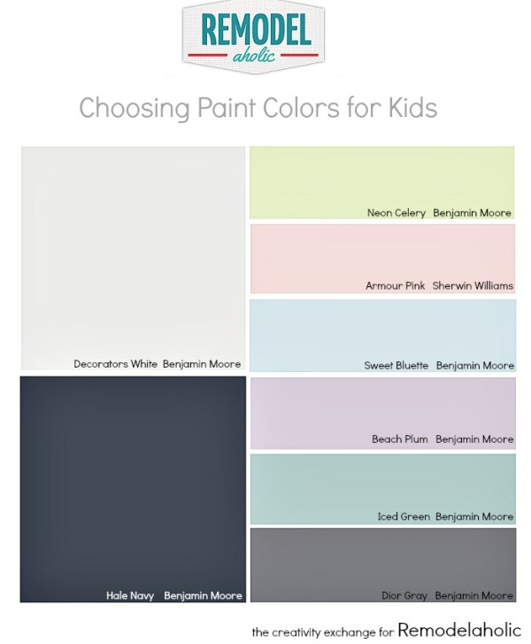 Tips for choosing paint colors for kid spaces.  Remodelaholic.com #children #kidsroom