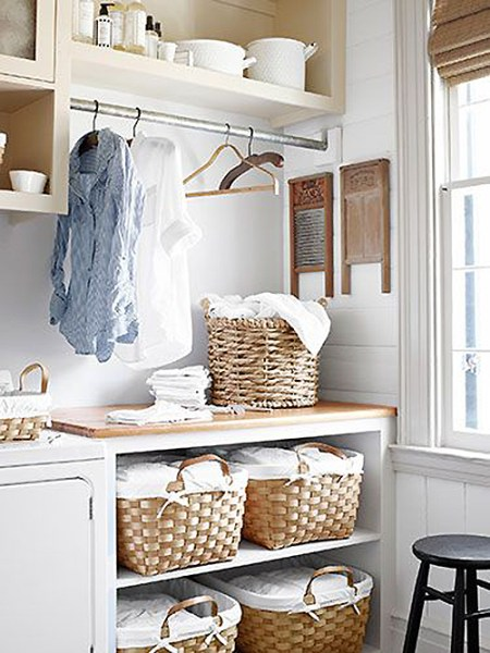 air drying space in pretty laundry room