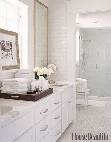 Decorating with White @Remodelaholic - white bath with tile