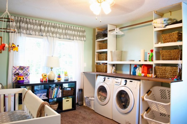 built-in laundry unit in bedroom nursery, Seesaws and Sawhorses on Remodelaholic