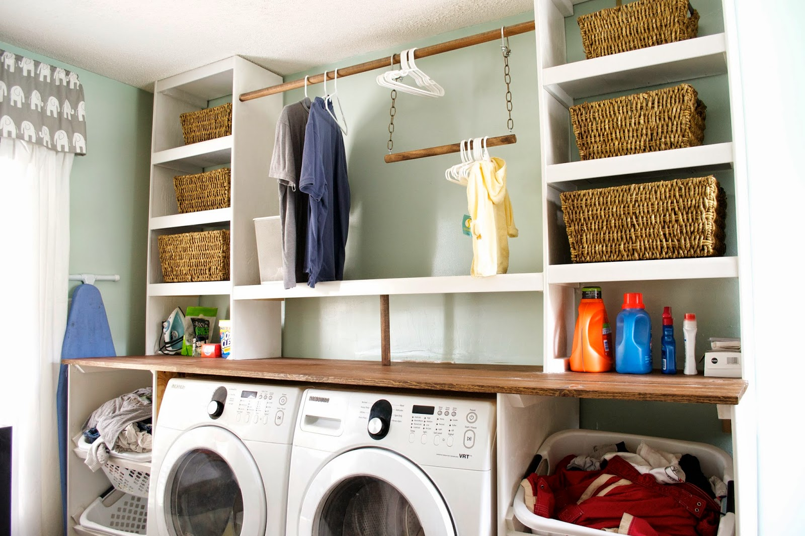 Built In Laundry Unit With Storage Baskets, Seesaws And Sawhorses On  Remodelaholic