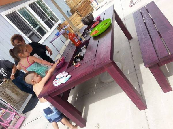 DIY Patio Table in Eggplant Purple | Reader projects featured on Remodelaholic.com #diy #remodelaholic