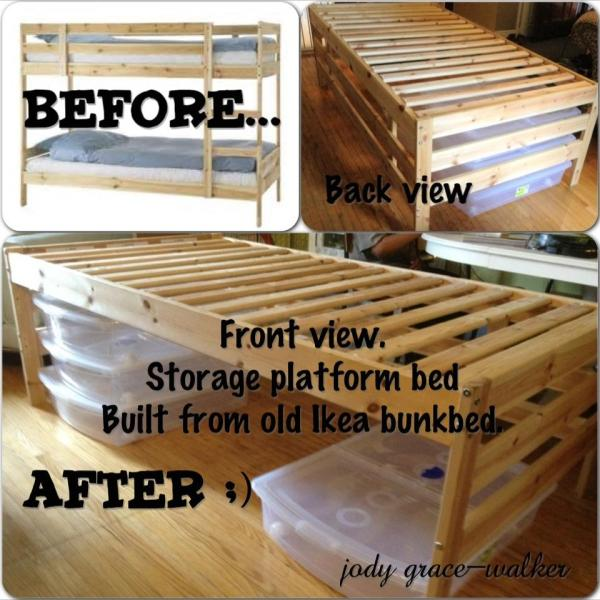 IKEA Bunk Bed into Storage Platform Bed | Reader projects featured on Remodelaholic.com #diy #remodelaholic
