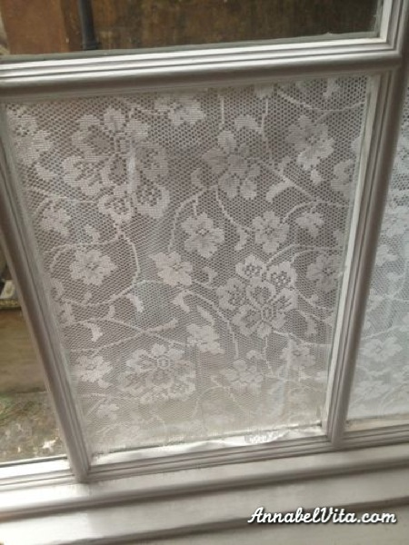 glue lace to windows for DIY privacy film