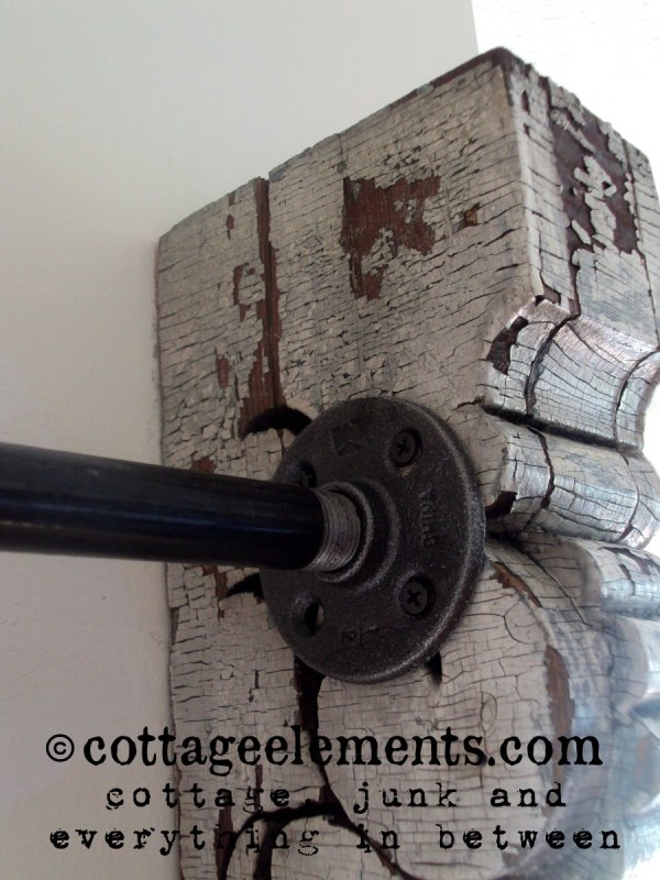 industrial curtain rod with corbels Cottage Elements via Remodelaholic