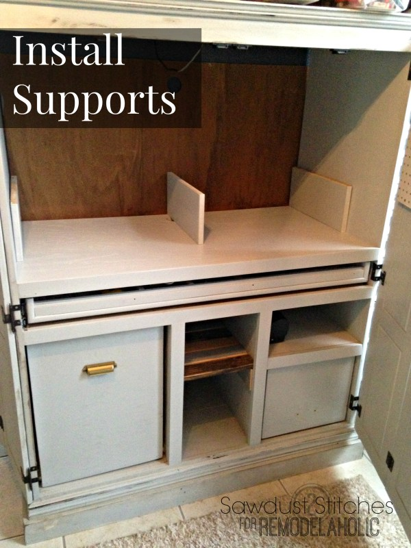 install supports  craft cabinet remodelaholic