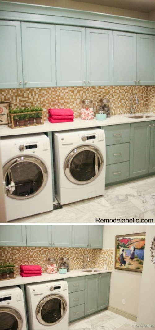 laundry Room with cute colored cabinets for a pop of color featured on Remodelaholic.com