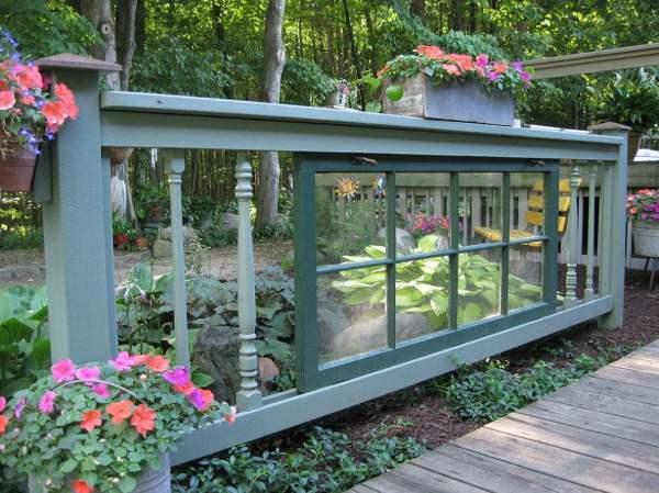 old window in garden spindle fence via Hometalk on Remodelaholic