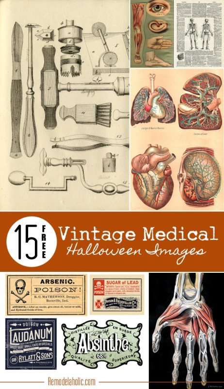 15 Free Vintage Medical Halloween Images | Remodelaholic.com #printable #free #art