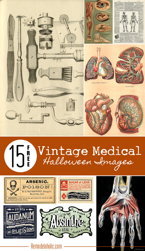 15 Free Vintage Medical Halloween Images | Remodelaholic.com #free #printable #art