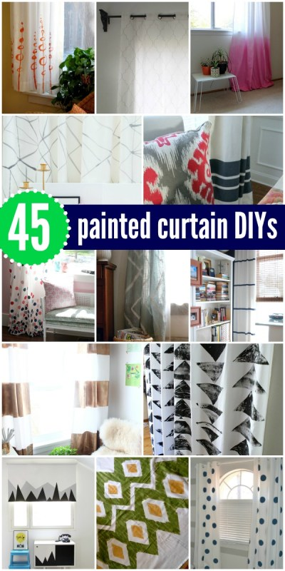 45 DIY Painted Curtains and Tutorials via Remodelaholic.com #AllThingsWindows #paint #curtains #DIY