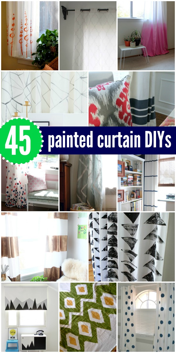 45 DIY Painted Curtains And Tutorials Via Remodelaholic AllThingsWindows Paint