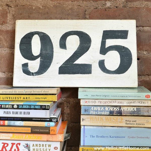 DIY vintage number sign, Hello Little Home