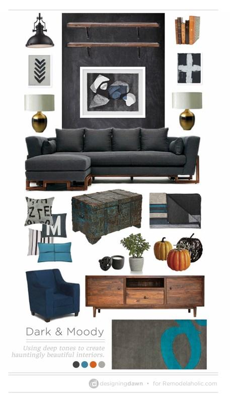 Dark & Moody Room Inspiration @Remodelaholic #moodboard