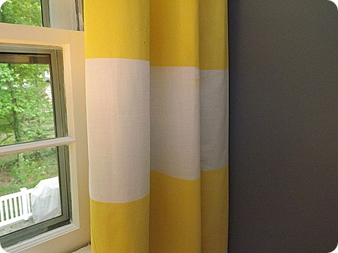 Life On Mars - spray painted fabric curtains - via Remodelaholic