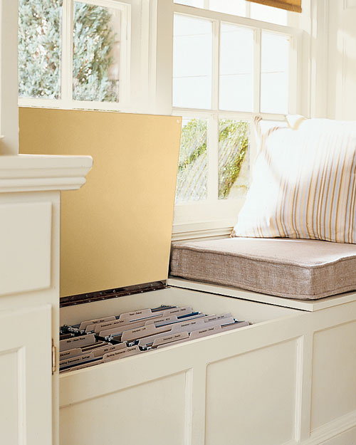 Martha Stewart - filing cabinet in the window seat via @Remodelaholic