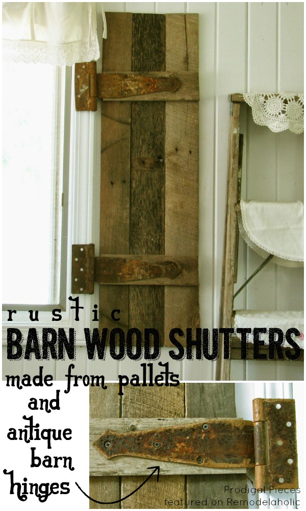 DIY Barn Wood Shutters (with Antique Barn Hinges)   Prodigal Pieces On  Remodelaholic.