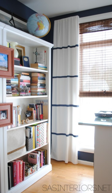 SAS Interiors - designer inspired painted striped curtains - via Remodelaholic