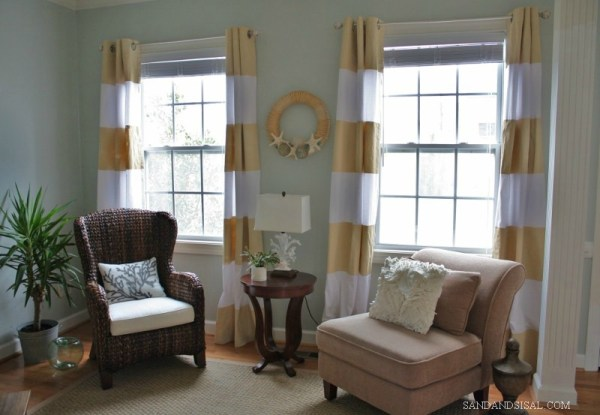 Sand and Sisal - striped painted curtains - via Remodelaholic