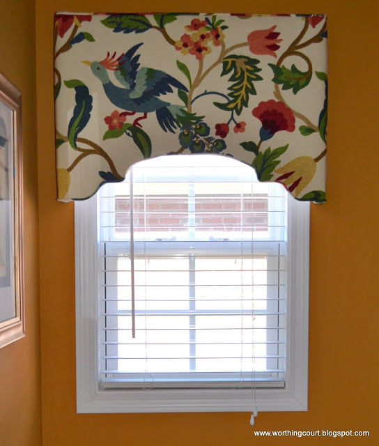 Worthing Court - diy upholstered window cornice via @Remodelaholi