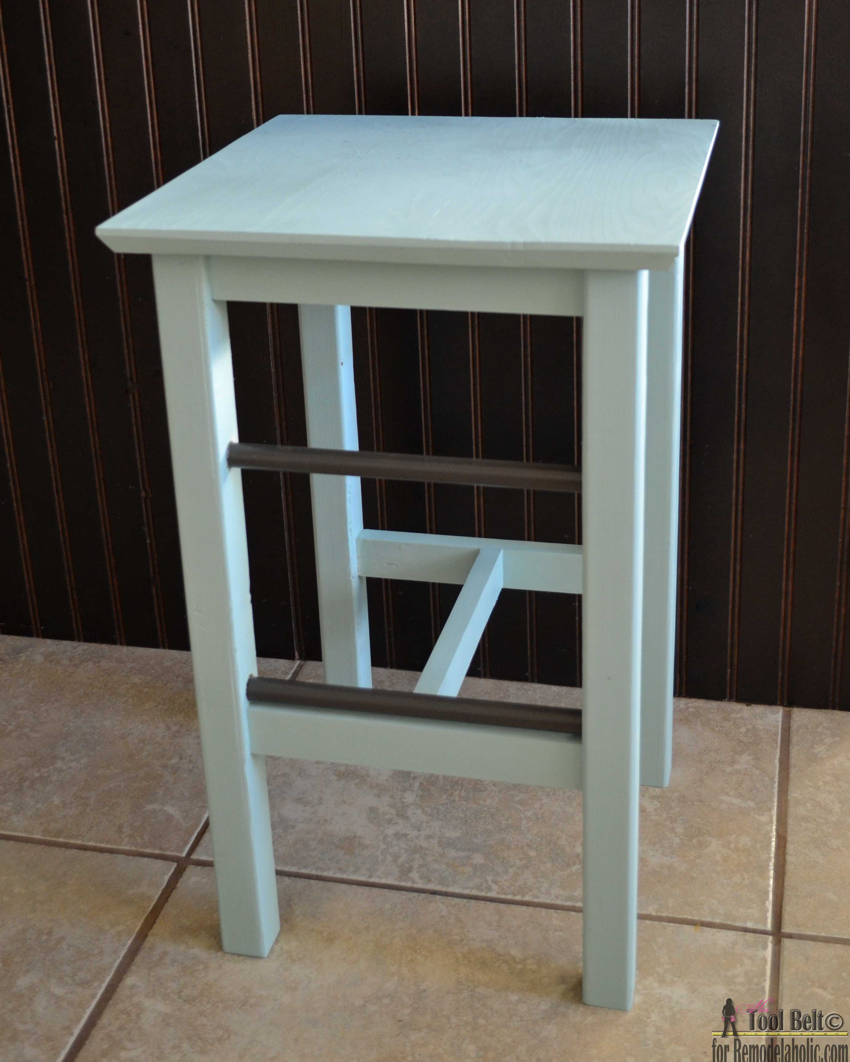 Remodelaholic | DIY Bar Stools with Metal Bar Accents