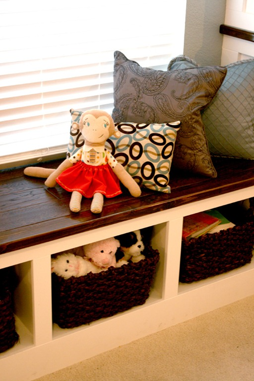 built-in window seat with toy storage by @Remodelaholic