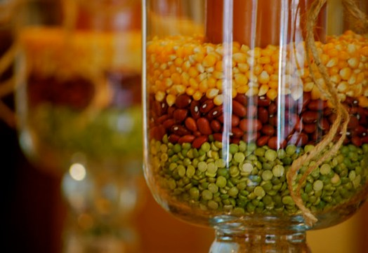 corn bean and lentil vase filler