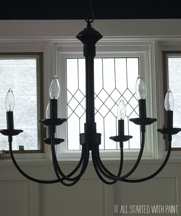 faux leaded glass window and chandelier in dining room, It All Started With Paint on Remodelaholic