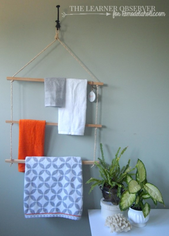 Using just rope and some 1x1 wood you can make a great towel or blanket rack in 15 minutes!