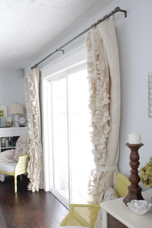 sew ruffled burlap curtains diy, The Caldwell Project on Remodelaholic