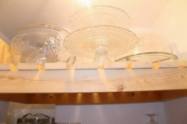 store dishes in pantry with built-in wood slat shelving, Girl Meets Carpenter on @Remodelaholic