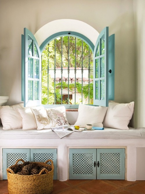 via Adorable Home - open arched window with window seat via @Remodelaholic