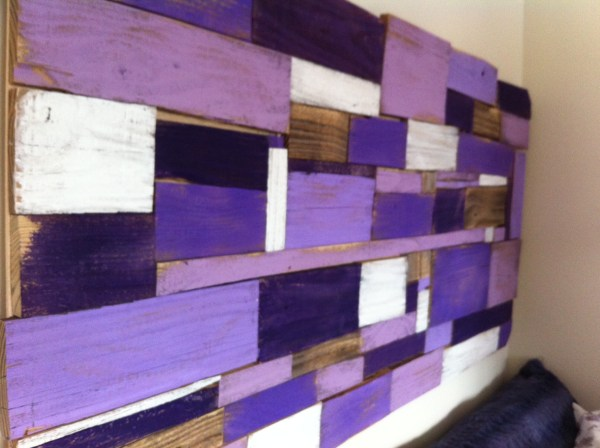 wood scrap art headboard, Mom in Music City