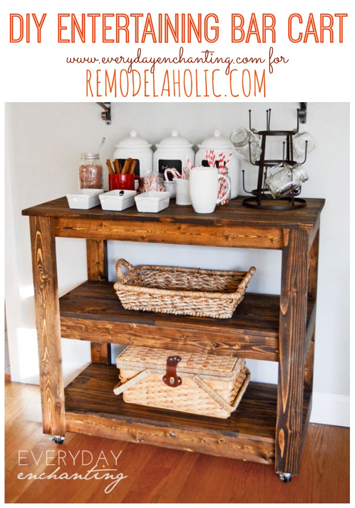 diy wood bar. Learn How To Build An Easy DIY Entertaining Bar Cart From Everyday  Enchanting For Remodelaholic Build A Wood